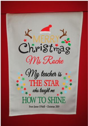 Personalised Teacher Christmas Tea Towel